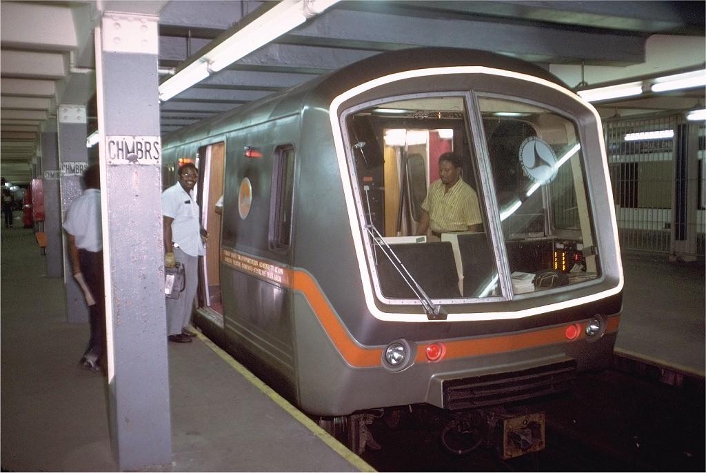 (205k, 1024x686)<br><b>Country:</b> United States<br><b>City:</b> New York<br><b>System:</b> New York City Transit<br><b>Line:</b> IND 8th Avenue Line<br><b>Location:</b> Chambers Street/World Trade Center <br><b>Car:</b> SOAC  <br><b>Photo by:</b> Doug Grotjahn<br><b>Collection of:</b> Joe Testagrose<br><b>Date:</b> 7/8/1974<br><b>Viewed (this week/total):</b> 5 / 3986