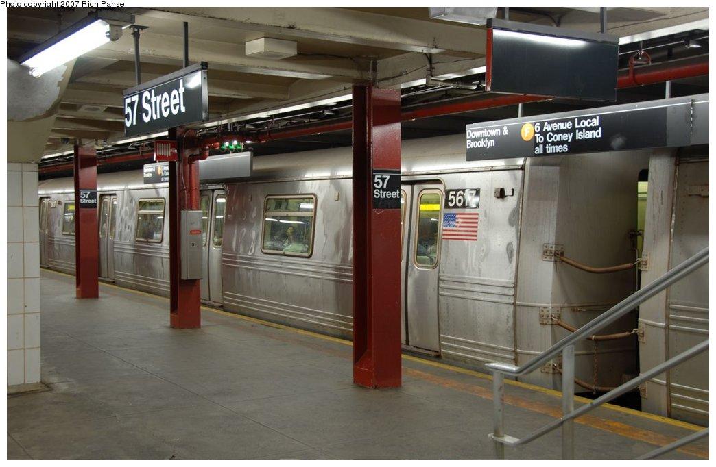 (125k, 1044x682)<br><b>Country:</b> United States<br><b>City:</b> New York<br><b>System:</b> New York City Transit<br><b>Line:</b> IND 6th Avenue Line<br><b>Location:</b> 57th Street <br><b>Route:</b> F<br><b>Car:</b> R-46 (Pullman-Standard, 1974-75) 5617 <br><b>Photo by:</b> Richard Panse<br><b>Date:</b> 9/16/2007<br><b>Viewed (this week/total):</b> 1 / 3760