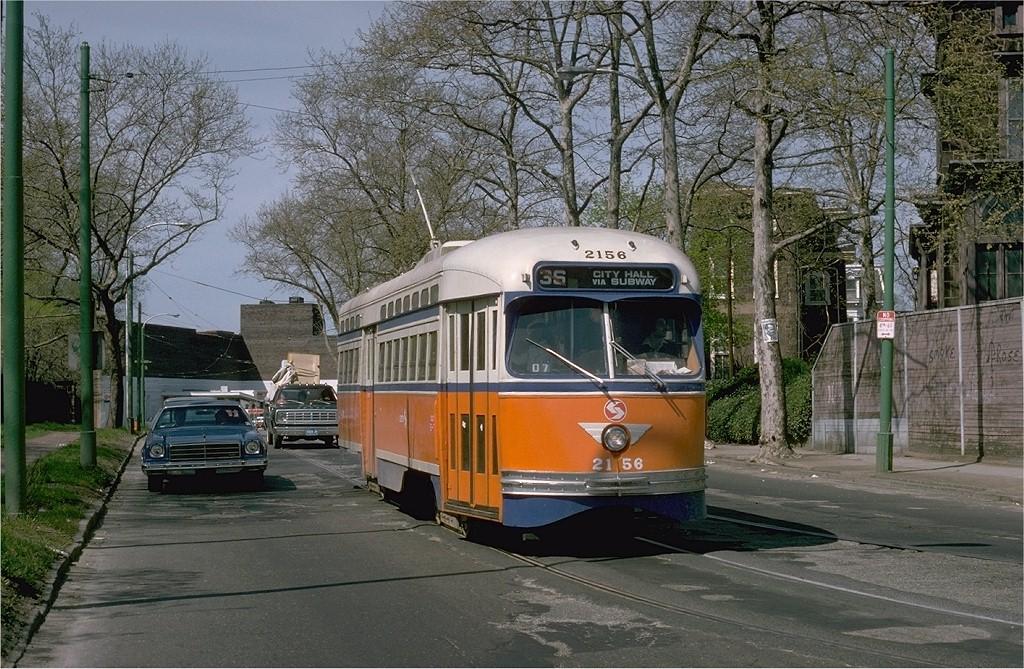 (268k, 1024x669)<br><b>Country:</b> United States<br><b>City:</b> Philadelphia, PA<br><b>System:</b> SEPTA (or Predecessor)<br><b>Line:</b> Rt. 36-Eastwick<br><b>Location:</b> Woodland/40th (40th St Portal) <br><b>Route:</b> 36<br><b>Car:</b> PTC/SEPTA Postwar All-electric PCC (St.Louis, 1948)  2156 <br><b>Photo by:</b> Joe Testagrose<br><b>Date:</b> 4/27/1975<br><b>Viewed (this week/total):</b> 0 / 1610
