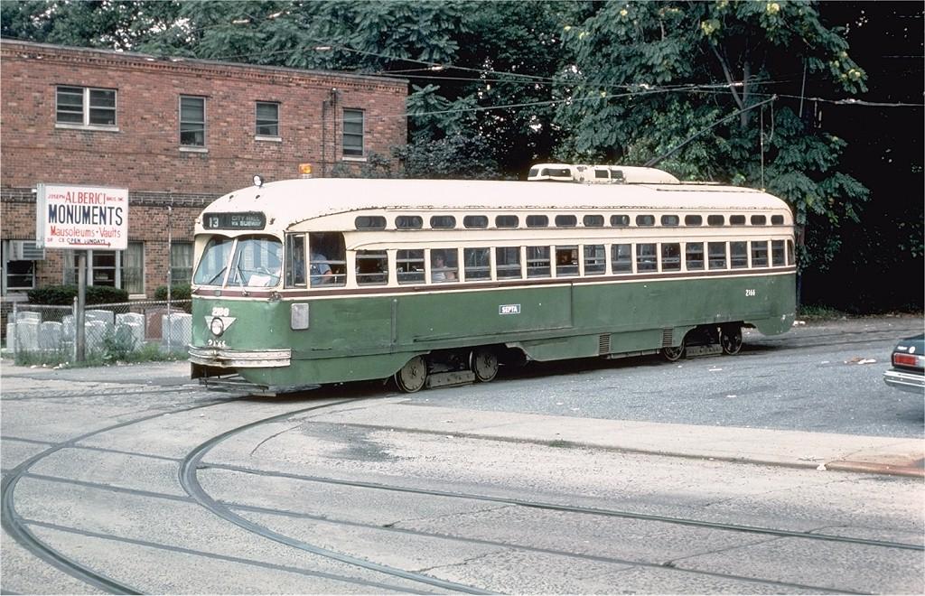 (254k, 1024x660)<br><b>Country:</b> United States<br><b>City:</b> Philadelphia, PA<br><b>System:</b> SEPTA (or Predecessor)<br><b>Line:</b> Rt. 13-Yeadon/Darby<br><b>Location:</b> Yeadon Loop <br><b>Route:</b> 13<br><b>Car:</b> PTC/SEPTA Postwar All-electric PCC (St.Louis, 1948)  2166 <br><b>Collection of:</b> Joe Testagrose<br><b>Date:</b> 9/2/1978<br><b>Viewed (this week/total):</b> 4 / 1318