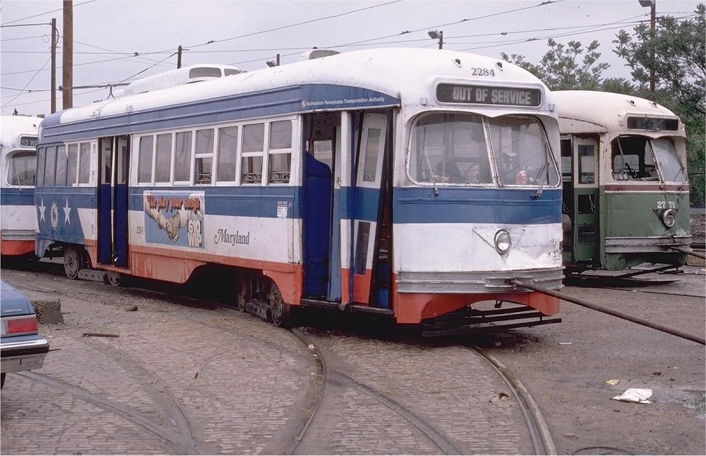 (212k, 1024x662)<br><b>Country:</b> United States<br><b>City:</b> Philadelphia, PA<br><b>System:</b> SEPTA (or Predecessor)<br><b>Location:</b> Luzerne Depot <br><b>Car:</b> PTC/SEPTA ex-Kansas City PCC (St.Louis, 1946)  2284 <br><b>Photo by:</b> Ed McKernan<br><b>Collection of:</b> Joe Testagrose<br><b>Date:</b> 5/12/1979<br><b>Viewed (this week/total):</b> 0 / 1291