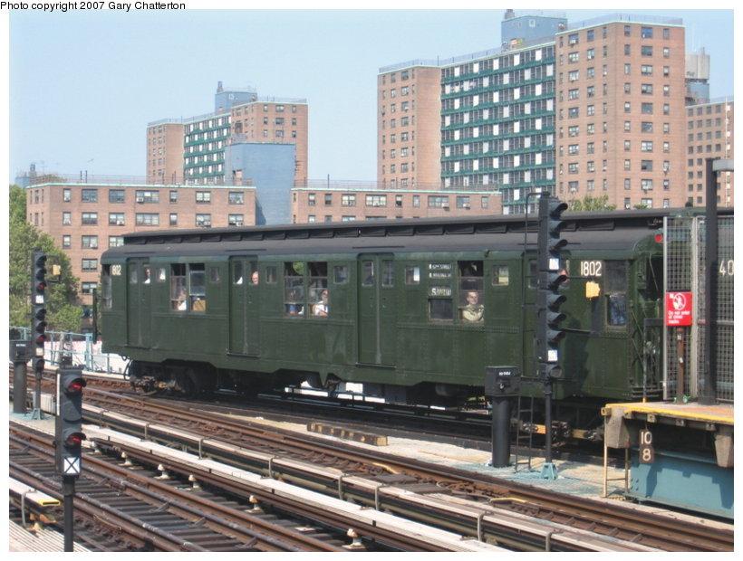 (125k, 820x620)<br><b>Country:</b> United States<br><b>City:</b> New York<br><b>System:</b> New York City Transit<br><b>Line:</b> BMT West End Line<br><b>Location:</b> Bay 50th Street <br><b>Route:</b> Fan Trip<br><b>Car:</b> R-9 (Pressed Steel, 1940)  1802 <br><b>Photo by:</b> Gary Chatterton<br><b>Date:</b> 9/8/2007<br><b>Viewed (this week/total):</b> 1 / 2075