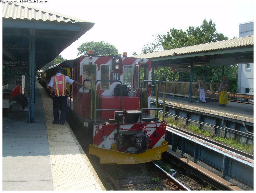 (216k, 1044x788)<br><b>Country:</b> United States<br><b>City:</b> New York<br><b>System:</b> New York City Transit<br><b>Line:</b> BMT Brighton Line<br><b>Location:</b> Sheepshead Bay <br><b>Route:</b> Work Service<br><b>Car:</b> R-47 (SBK) Locomotive  N1 <br><b>Photo by:</b> Zach Summer<br><b>Date:</b> 9/8/2007<br><b>Viewed (this week/total):</b> 0 / 1691