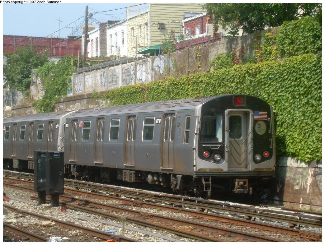 (263k, 1044x788)<br><b>Country:</b> United States<br><b>City:</b> New York<br><b>System:</b> New York City Transit<br><b>Line:</b> BMT Sea Beach Line<br><b>Location:</b> 20th Avenue <br><b>Route:</b> N<br><b>Car:</b> R-160B (Kawasaki, 2005-2008)  8718 <br><b>Photo by:</b> Zach Summer<br><b>Date:</b> 9/8/2007<br><b>Viewed (this week/total):</b> 0 / 2721
