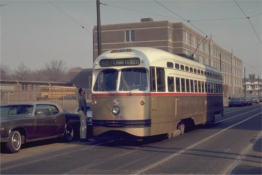 (168k, 1024x687)<br><b>Country:</b> United States<br><b>City:</b> Philadelphia, PA<br><b>System:</b> SEPTA (or Predecessor)<br><b>Location:</b> 12th & Luzerne<br><b>Route:</b> Fan Trip<br><b>Car:</b> PTC/SEPTA Postwar All-electric PCC (St.Louis, 1948)  2176 <br><b>Photo by:</b> Joe Testagrose<br><b>Date:</b> 3/1/1970<br><b>Viewed (this week/total):</b> 0 / 950