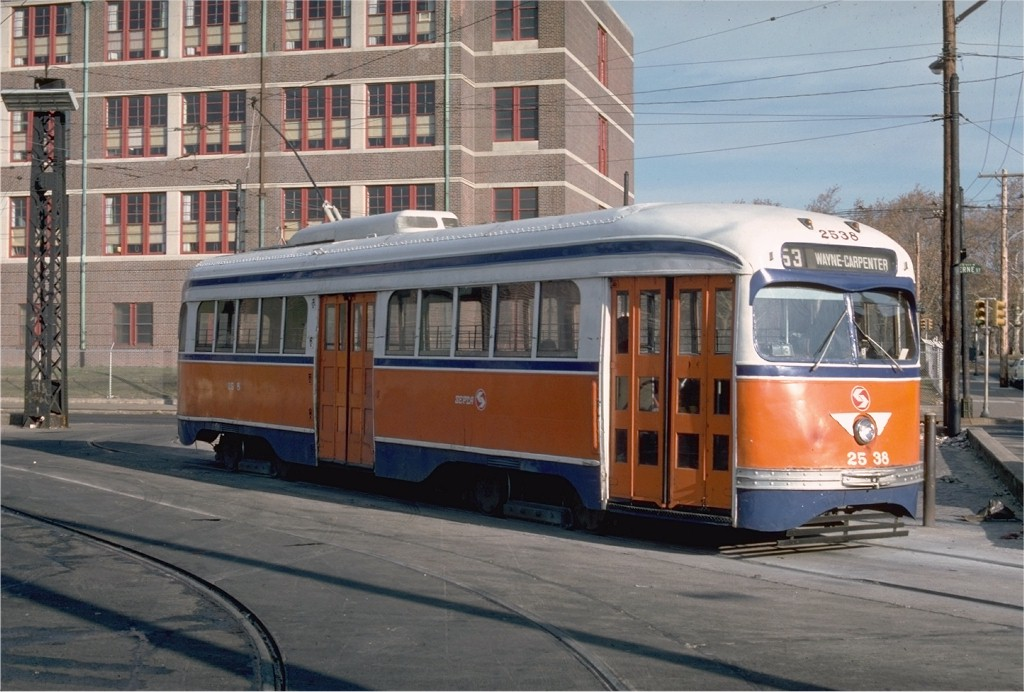 (191k, 1024x692)<br><b>Country:</b> United States<br><b>City:</b> Philadelphia, PA<br><b>System:</b> SEPTA (or Predecessor)<br><b>Line:</b> Rt. 53-Wayne Ave. <br><b>Location:</b> 10th/Luzerne <br><b>Car:</b> PTC/SEPTA Pre-war Air-car PCC (St.Louis, 1940)  2538 <br><b>Photo by:</b> Ed McKernan<br><b>Collection of:</b> Joe Testagrose<br><b>Date:</b> 11/21/1976<br><b>Viewed (this week/total):</b> 0 / 1420