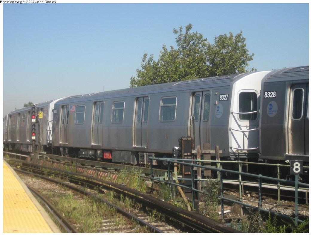 (176k, 1044x788)<br><b>Country:</b> United States<br><b>City:</b> New York<br><b>System:</b> New York City Transit<br><b>Line:</b> BMT Nassau Street/Jamaica Line<br><b>Location:</b> Broadway/East New York (Broadway Junction) <br><b>Route:</b> Z<br><b>Car:</b> R-160A-1 (Alstom, 2005-2008, 4 car sets)  8327 <br><b>Photo by:</b> John Dooley<br><b>Date:</b> 9/20/2007<br><b>Viewed (this week/total):</b> 0 / 2003