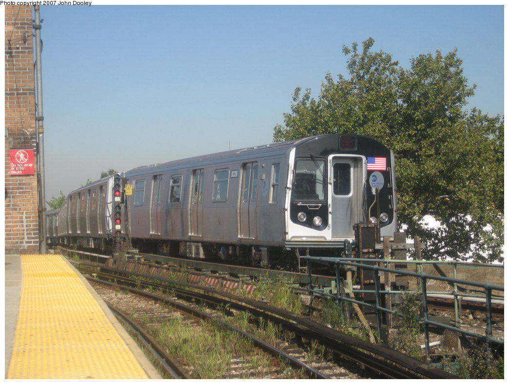 (198k, 1044x788)<br><b>Country:</b> United States<br><b>City:</b> New York<br><b>System:</b> New York City Transit<br><b>Line:</b> BMT Nassau Street/Jamaica Line<br><b>Location:</b> Broadway/East New York (Broadway Junction) <br><b>Route:</b> Z<br><b>Car:</b> R-160A-1 (Alstom, 2005-2008, 4 car sets)  8328 <br><b>Photo by:</b> John Dooley<br><b>Date:</b> 9/20/2007<br><b>Viewed (this week/total):</b> 0 / 2290
