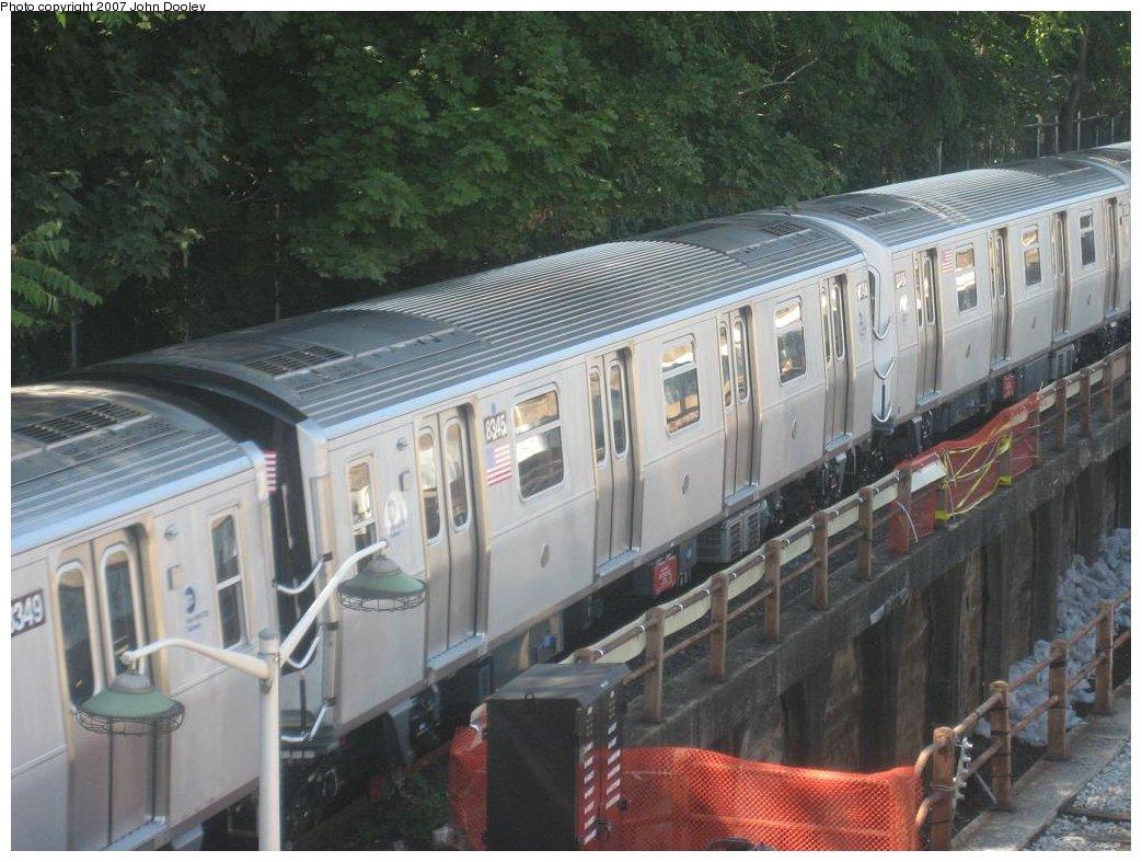 (175k, 1043x787)<br><b>Country:</b> United States<br><b>City:</b> New York<br><b>System:</b> New York City Transit<br><b>Line:</b> BMT West End Line<br><b>Location:</b> 9th Avenue <br><b>Route:</b> Testing<br><b>Car:</b> R-160A-1 (Alstom, 2005-2008, 4 car sets)  8345 <br><b>Photo by:</b> John Dooley<br><b>Date:</b> 9/20/2007<br><b>Viewed (this week/total):</b> 1 / 2671