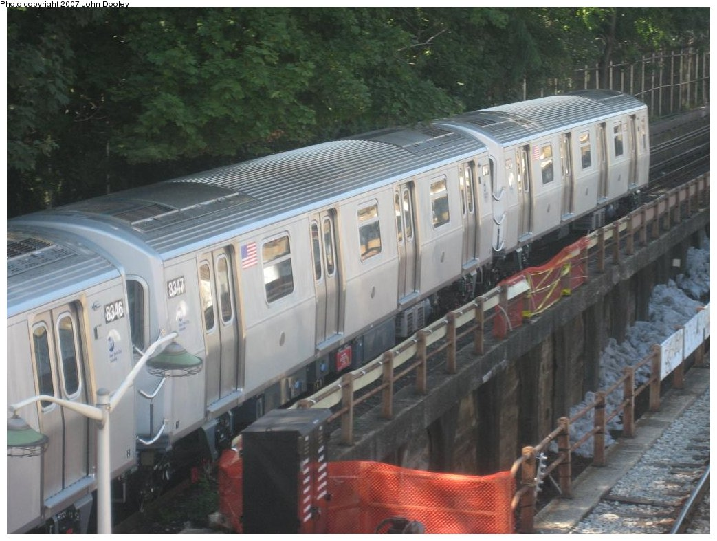 (162k, 1043x787)<br><b>Country:</b> United States<br><b>City:</b> New York<br><b>System:</b> New York City Transit<br><b>Line:</b> BMT West End Line<br><b>Location:</b> 9th Avenue <br><b>Route:</b> Testing<br><b>Car:</b> R-160A-1 (Alstom, 2005-2008, 4 car sets)  8347 <br><b>Photo by:</b> John Dooley<br><b>Date:</b> 9/20/2007<br><b>Viewed (this week/total):</b> 3 / 2201
