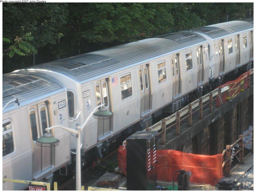 (156k, 1043x787)<br><b>Country:</b> United States<br><b>City:</b> New York<br><b>System:</b> New York City Transit<br><b>Line:</b> BMT West End Line<br><b>Location:</b> 9th Avenue <br><b>Route:</b> Testing<br><b>Car:</b> R-160A-1 (Alstom, 2005-2008, 4 car sets)  8350 <br><b>Photo by:</b> John Dooley<br><b>Date:</b> 9/20/2007<br><b>Viewed (this week/total):</b> 0 / 2402