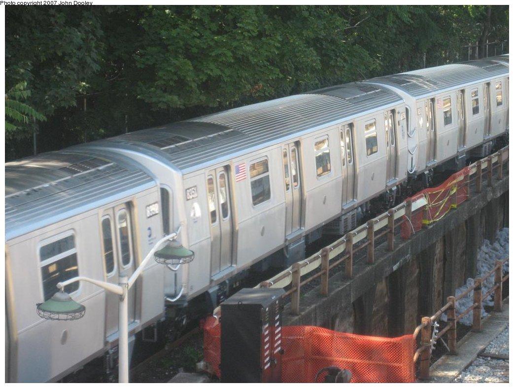(166k, 1043x787)<br><b>Country:</b> United States<br><b>City:</b> New York<br><b>System:</b> New York City Transit<br><b>Line:</b> BMT West End Line<br><b>Location:</b> 9th Avenue <br><b>Route:</b> Testing<br><b>Car:</b> R-160A-1 (Alstom, 2005-2008, 4 car sets)  8351 <br><b>Photo by:</b> John Dooley<br><b>Date:</b> 9/20/2007<br><b>Viewed (this week/total):</b> 3 / 2368