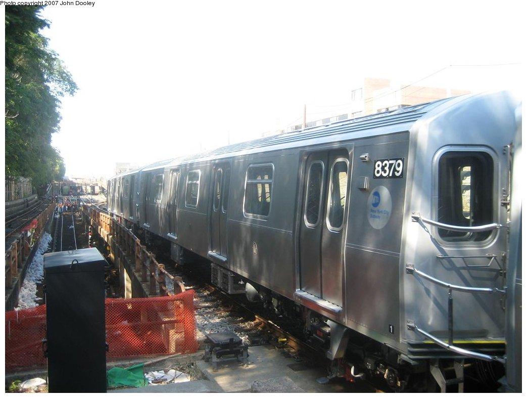 (143k, 1043x787)<br><b>Country:</b> United States<br><b>City:</b> New York<br><b>System:</b> New York City Transit<br><b>Line:</b> BMT West End Line<br><b>Location:</b> 9th Avenue <br><b>Route:</b> Testing<br><b>Car:</b> R-160A-1 (Alstom, 2005-2008, 4 car sets)  8379 <br><b>Photo by:</b> John Dooley<br><b>Date:</b> 9/20/2007<br><b>Viewed (this week/total):</b> 0 / 2721