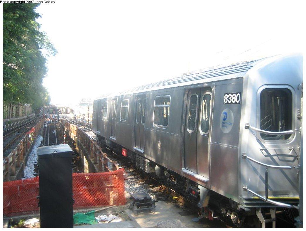 (141k, 1043x787)<br><b>Country:</b> United States<br><b>City:</b> New York<br><b>System:</b> New York City Transit<br><b>Line:</b> BMT West End Line<br><b>Location:</b> 9th Avenue <br><b>Route:</b> Testing<br><b>Car:</b> R-160A-1 (Alstom, 2005-2008, 4 car sets)  8380 <br><b>Photo by:</b> John Dooley<br><b>Date:</b> 9/20/2007<br><b>Viewed (this week/total):</b> 4 / 2171