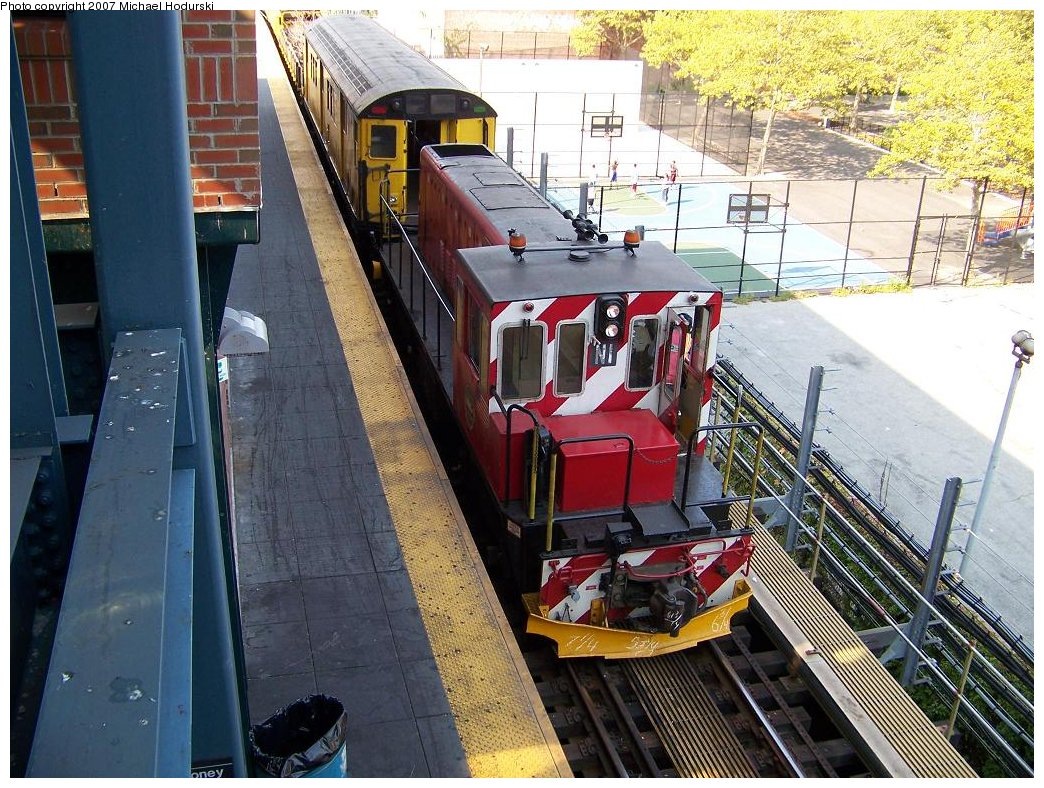 (250k, 1044x788)<br><b>Country:</b> United States<br><b>City:</b> New York<br><b>System:</b> New York City Transit<br><b>Location:</b> Coney Island/Stillwell Avenue<br><b>Route:</b> Work Service<br><b>Car:</b> R-47 (SBK) Locomotive  N1 <br><b>Photo by:</b> Michael Hodurski<br><b>Date:</b> 9/8/2007<br><b>Viewed (this week/total):</b> 2 / 1631