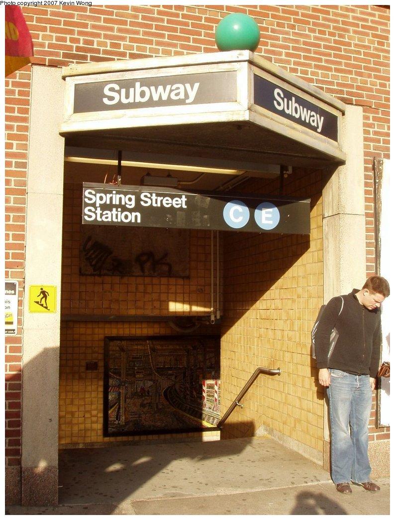 (178k, 794x1045)<br><b>Country:</b> United States<br><b>City:</b> New York<br><b>System:</b> New York City Transit<br><b>Line:</b> IND 8th Avenue Line<br><b>Location:</b> Spring Street <br><b>Photo by:</b> Kevin Wong<br><b>Date:</b> 10/14/2006<br><b>Notes:</b> Station entrance, northbound side.<br><b>Viewed (this week/total):</b> 1 / 2853