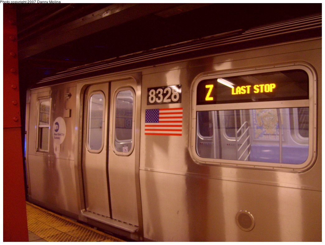 (180k, 1044x788)<br><b>Country:</b> United States<br><b>City:</b> New York<br><b>System:</b> New York City Transit<br><b>Line:</b> BMT Nassau Street/Jamaica Line<br><b>Location:</b> Broad Street <br><b>Route:</b> Z<br><b>Car:</b> R-160A-1 (Alstom, 2005-2008, 4 car sets)  8328 <br><b>Photo by:</b> Danny Molina<br><b>Date:</b> 9/20/2007<br><b>Viewed (this week/total):</b> 2 / 4044