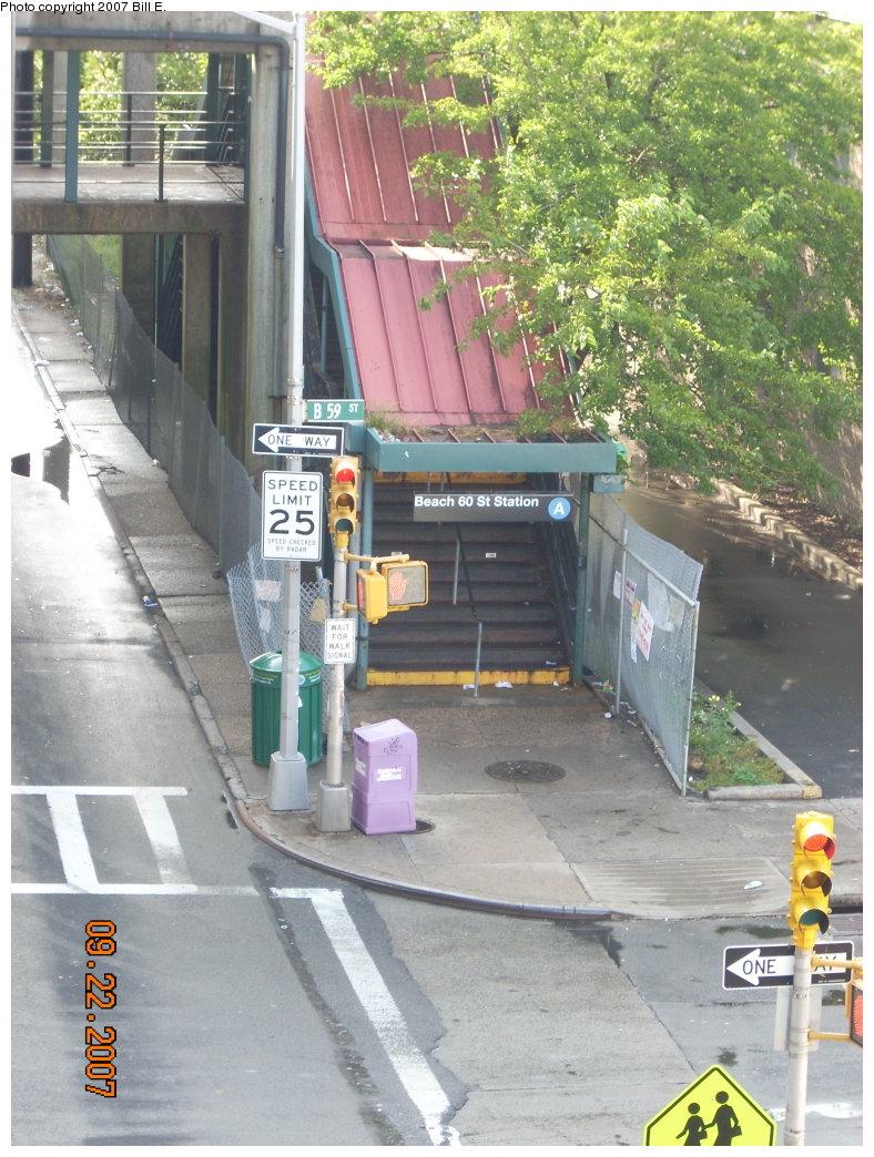 (235k, 788x1044)<br><b>Country:</b> United States<br><b>City:</b> New York<br><b>System:</b> New York City Transit<br><b>Line:</b> IND Rockaway<br><b>Location:</b> Beach 60th Street/Straiton <br><b>Photo by:</b> Bill E.<br><b>Date:</b> 9/22/2007<br><b>Notes:</b> Station entrance as seen from platform.<br><b>Viewed (this week/total):</b> 2 / 1690