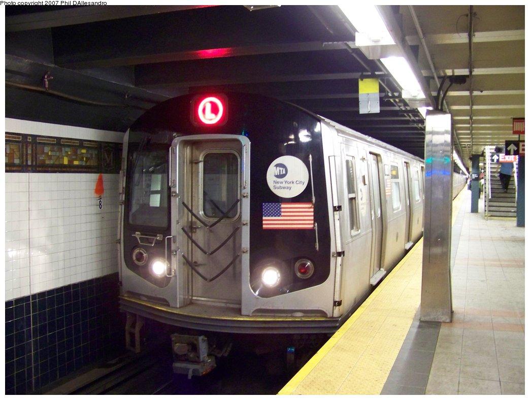 (156k, 1044x788)<br><b>Country:</b> United States<br><b>City:</b> New York<br><b>System:</b> New York City Transit<br><b>Line:</b> BMT Canarsie Line<br><b>Location:</b> Myrtle Avenue <br><b>Route:</b> L<br><b>Car:</b> R-143 (Kawasaki, 2001-2002) 8101 <br><b>Photo by:</b> Philip D'Allesandro<br><b>Date:</b> 9/22/2007<br><b>Viewed (this week/total):</b> 0 / 2022