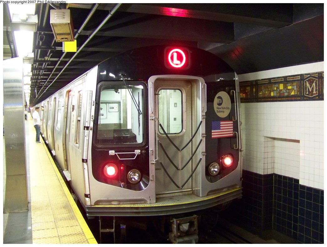 (177k, 1044x788)<br><b>Country:</b> United States<br><b>City:</b> New York<br><b>System:</b> New York City Transit<br><b>Line:</b> BMT Canarsie Line<br><b>Location:</b> Myrtle Avenue <br><b>Route:</b> L<br><b>Car:</b> R-143 (Kawasaki, 2001-2002) 8256 <br><b>Photo by:</b> Philip D'Allesandro<br><b>Date:</b> 9/23/2007<br><b>Viewed (this week/total):</b> 1 / 2027