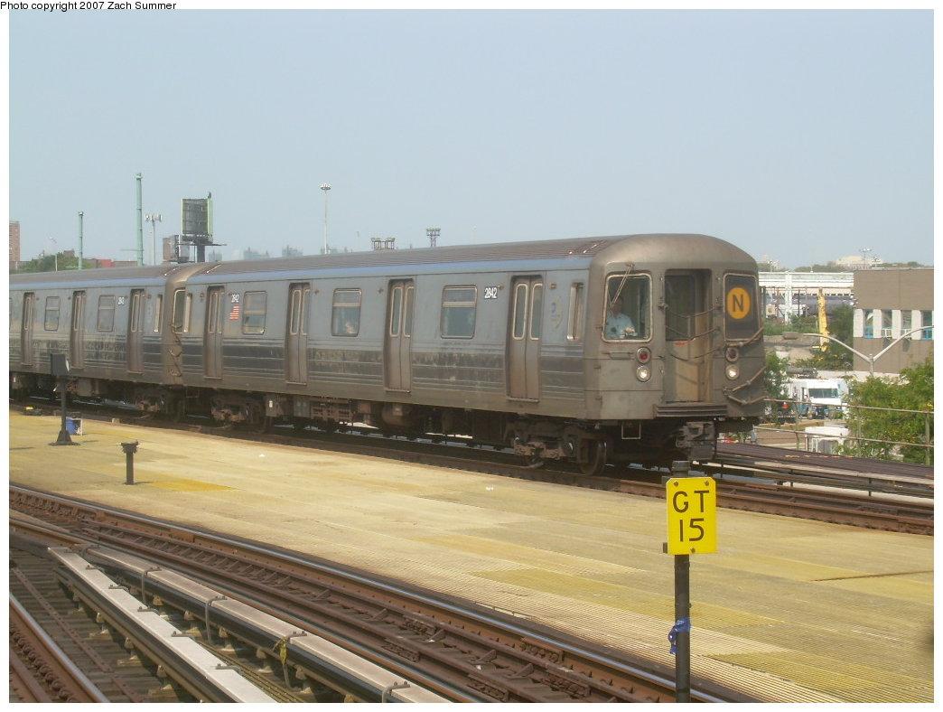 (181k, 1044x788)<br><b>Country:</b> United States<br><b>City:</b> New York<br><b>System:</b> New York City Transit<br><b>Location:</b> Coney Island/Stillwell Avenue<br><b>Route:</b> N<br><b>Car:</b> R-68 (Westinghouse-Amrail, 1986-1988)  2842 <br><b>Photo by:</b> Zach Summer<br><b>Date:</b> 9/8/2007<br><b>Viewed (this week/total):</b> 1 / 1504