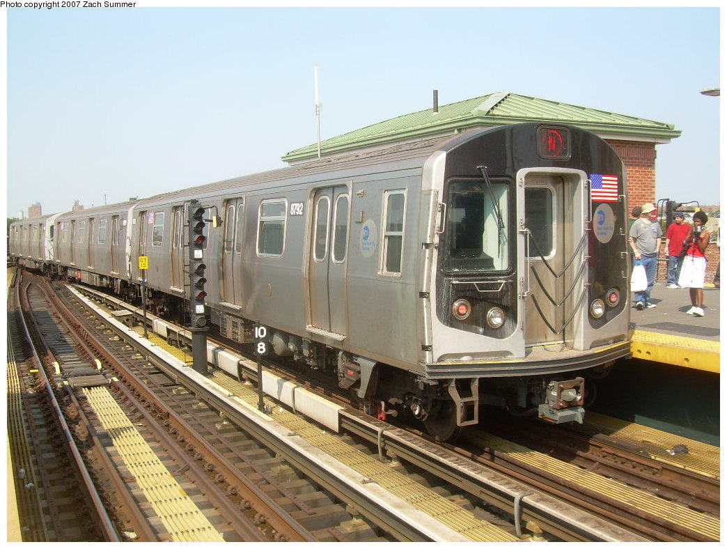 (229k, 1044x788)<br><b>Country:</b> United States<br><b>City:</b> New York<br><b>System:</b> New York City Transit<br><b>Location:</b> Coney Island/Stillwell Avenue<br><b>Route:</b> N<br><b>Car:</b> R-160B (Kawasaki, 2005-2008)  8792 <br><b>Photo by:</b> Zach Summer<br><b>Date:</b> 9/8/2007<br><b>Viewed (this week/total):</b> 0 / 1780