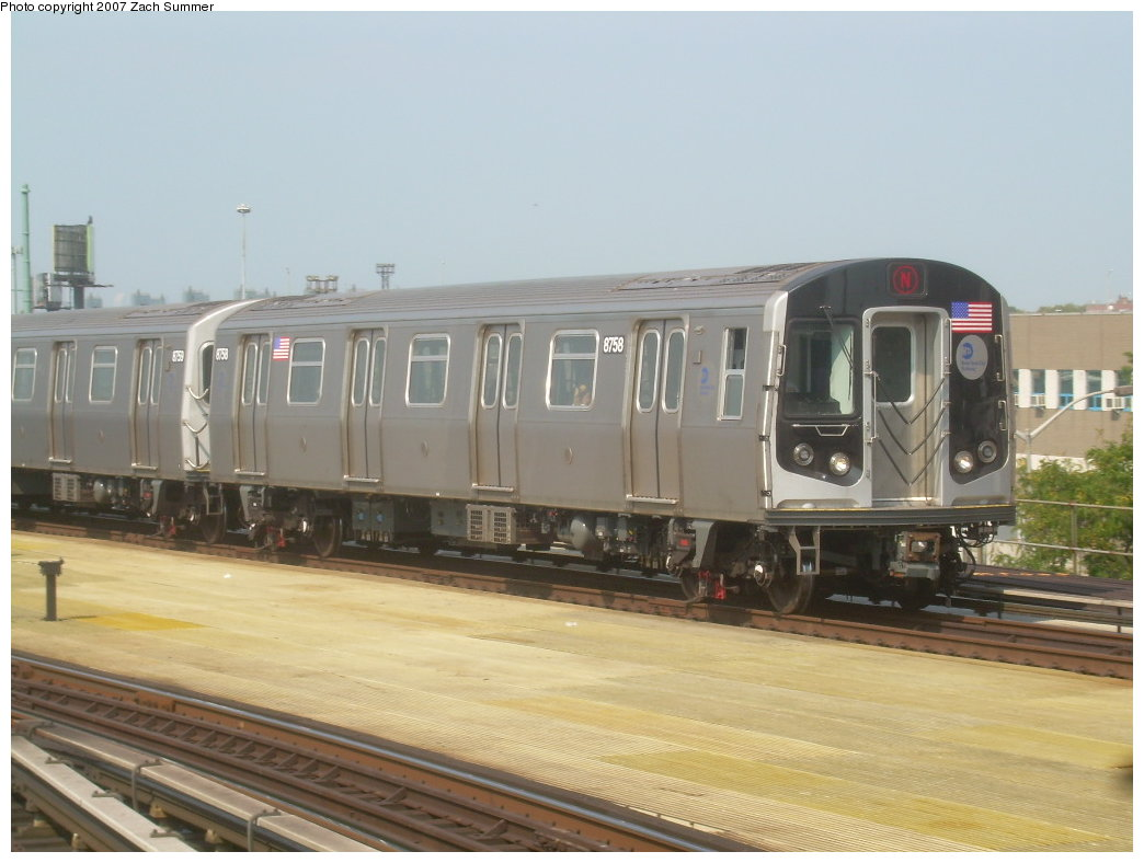 (168k, 1044x788)<br><b>Country:</b> United States<br><b>City:</b> New York<br><b>System:</b> New York City Transit<br><b>Location:</b> Coney Island/Stillwell Avenue<br><b>Route:</b> N<br><b>Car:</b> R-160B (Kawasaki, 2005-2008)  8758 <br><b>Photo by:</b> Zach Summer<br><b>Date:</b> 9/8/2007<br><b>Viewed (this week/total):</b> 2 / 1584