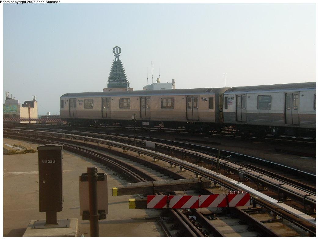 (153k, 1044x788)<br><b>Country:</b> United States<br><b>City:</b> New York<br><b>System:</b> New York City Transit<br><b>Location:</b> Coney Island/Stillwell Avenue<br><b>Route:</b> Q<br><b>Car:</b> R-68A (Kawasaki, 1988-1989)  5052 <br><b>Photo by:</b> Zach Summer<br><b>Date:</b> 9/8/2007<br><b>Viewed (this week/total):</b> 0 / 1552