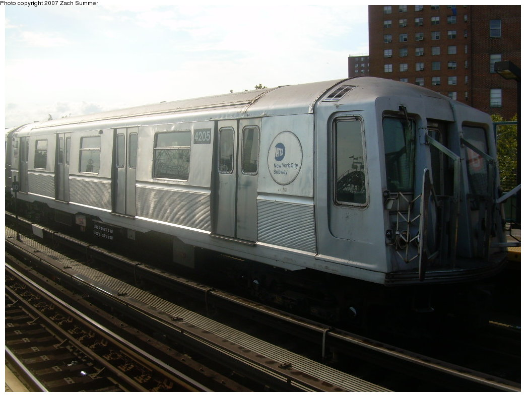 (177k, 1044x788)<br><b>Country:</b> United States<br><b>City:</b> New York<br><b>System:</b> New York City Transit<br><b>Line:</b> BMT Brighton Line<br><b>Location:</b> West 8th Street <br><b>Car:</b> R-40 (St. Louis, 1968)  4205 <br><b>Photo by:</b> Zach Summer<br><b>Date:</b> 9/9/2007<br><b>Notes:</b> Yard move.<br><b>Viewed (this week/total):</b> 2 / 1917