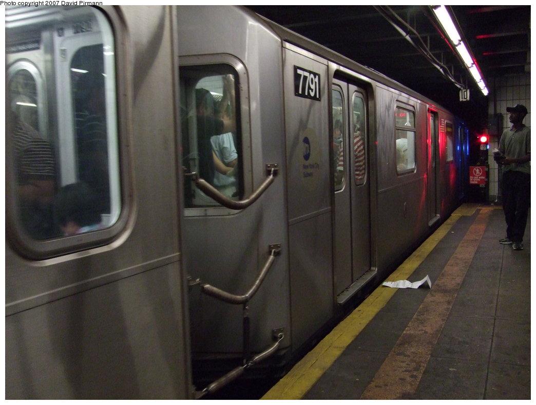 (147k, 1044x788)<br><b>Country:</b> United States<br><b>City:</b> New York<br><b>System:</b> New York City Transit<br><b>Line:</b> IRT Woodlawn Line<br><b>Location:</b> 149th Street/Grand Concourse <br><b>Route:</b> 4<br><b>Car:</b> R-142A (Supplemental Order, Kawasaki, 2003-2004)  7791 <br><b>Photo by:</b> David Pirmann<br><b>Date:</b> 9/21/2007<br><b>Viewed (this week/total):</b> 2 / 2762