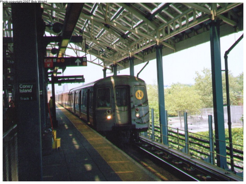 (135k, 938x702)<br><b>Country:</b> United States<br><b>City:</b> New York<br><b>System:</b> New York City Transit<br><b>Location:</b> Coney Island/Stillwell Avenue<br><b>Route:</b> N<br><b>Car:</b> R-68/R-68A Series (Number Unknown)  <br><b>Photo by:</b> Bob Wright<br><b>Date:</b> 8/20/2006<br><b>Viewed (this week/total):</b> 0 / 1751