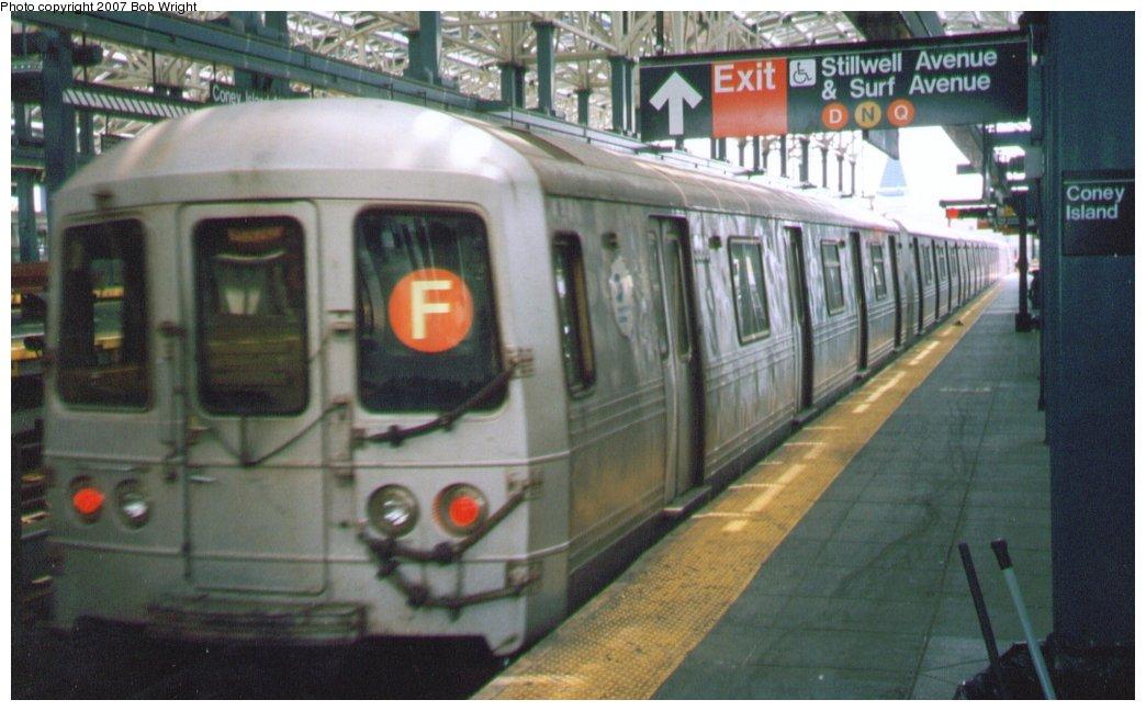 (124k, 1044x648)<br><b>Country:</b> United States<br><b>City:</b> New York<br><b>System:</b> New York City Transit<br><b>Location:</b> Coney Island/Stillwell Avenue<br><b>Route:</b> F<br><b>Car:</b> R-46 (Pullman-Standard, 1974-75)  <br><b>Photo by:</b> Bob Wright<br><b>Date:</b> 8/20/2006<br><b>Viewed (this week/total):</b> 0 / 1740