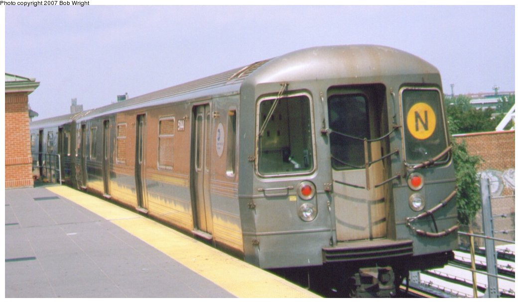 (97k, 1044x610)<br><b>Country:</b> United States<br><b>City:</b> New York<br><b>System:</b> New York City Transit<br><b>Location:</b> Coney Island/Stillwell Avenue<br><b>Route:</b> N<br><b>Car:</b> R-68A (Kawasaki, 1988-1989) 5144 <br><b>Photo by:</b> Bob Wright<br><b>Date:</b> 8/20/2006<br><b>Viewed (this week/total):</b> 0 / 1770