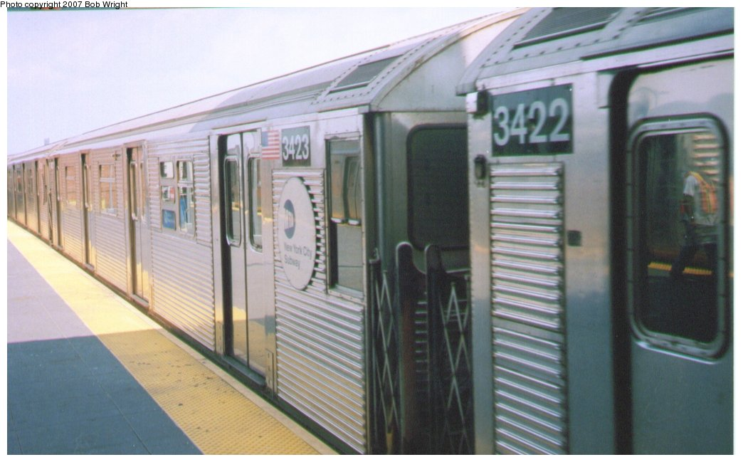 (112k, 1044x649)<br><b>Country:</b> United States<br><b>City:</b> New York<br><b>System:</b> New York City Transit<br><b>Location:</b> Coney Island/Stillwell Avenue<br><b>Route:</b> N<br><b>Car:</b> R-32 (Budd, 1964)  3423 <br><b>Photo by:</b> Bob Wright<br><b>Date:</b> 8/20/2006<br><b>Viewed (this week/total):</b> 3 / 1473