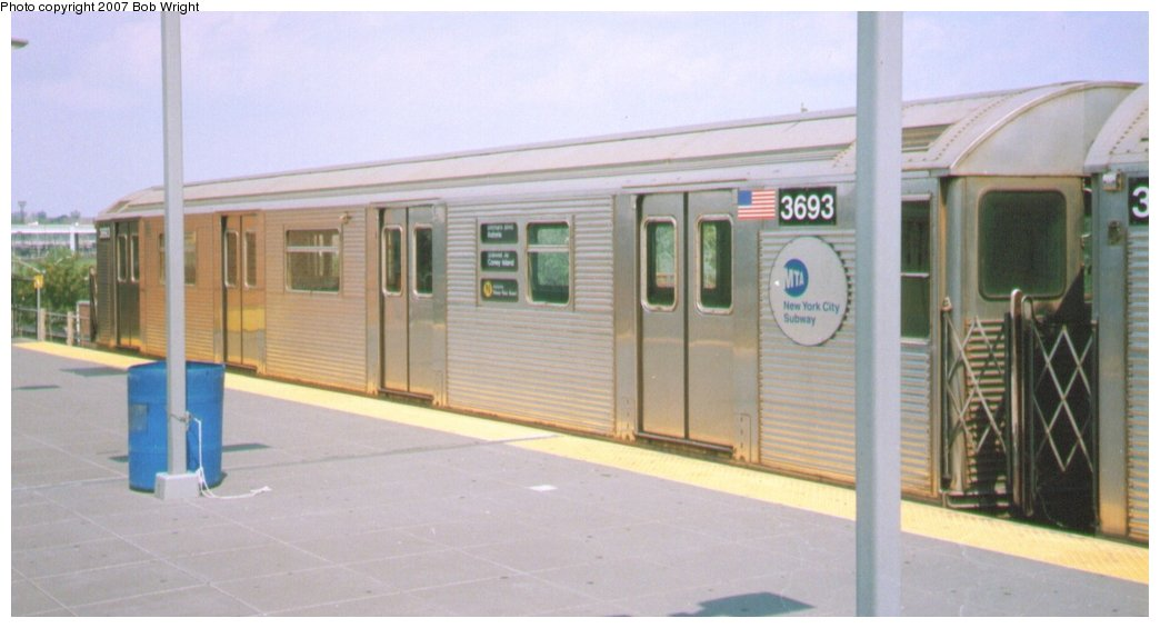(87k, 1044x565)<br><b>Country:</b> United States<br><b>City:</b> New York<br><b>System:</b> New York City Transit<br><b>Location:</b> Coney Island/Stillwell Avenue<br><b>Route:</b> N<br><b>Car:</b> R-32 (Budd, 1964)  3693 <br><b>Photo by:</b> Bob Wright<br><b>Date:</b> 8/20/2006<br><b>Viewed (this week/total):</b> 0 / 1652