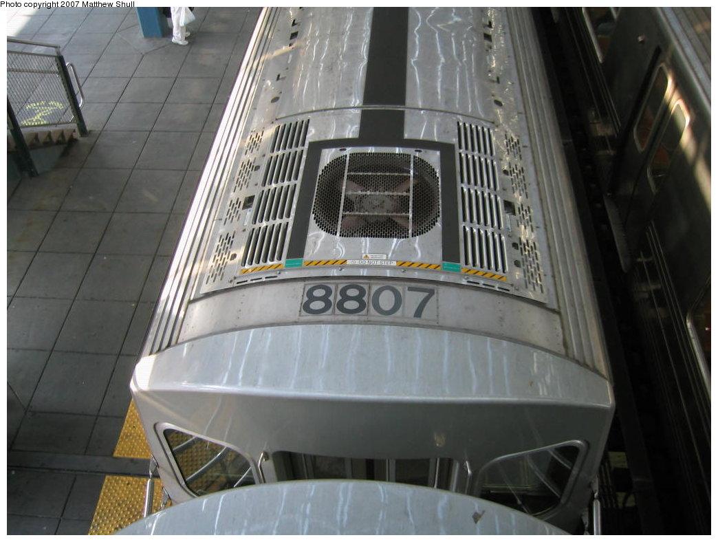 (152k, 1044x788)<br><b>Country:</b> United States<br><b>City:</b> New York<br><b>System:</b> New York City Transit<br><b>Location:</b> Coney Island/Stillwell Avenue<br><b>Route:</b> N<br><b>Car:</b> R-160B (Kawasaki, 2005-2008)  8807 <br><b>Photo by:</b> Matthew Shull<br><b>Date:</b> 8/27/2007<br><b>Notes:</b> From Overpass<br><b>Viewed (this week/total):</b> 0 / 2896