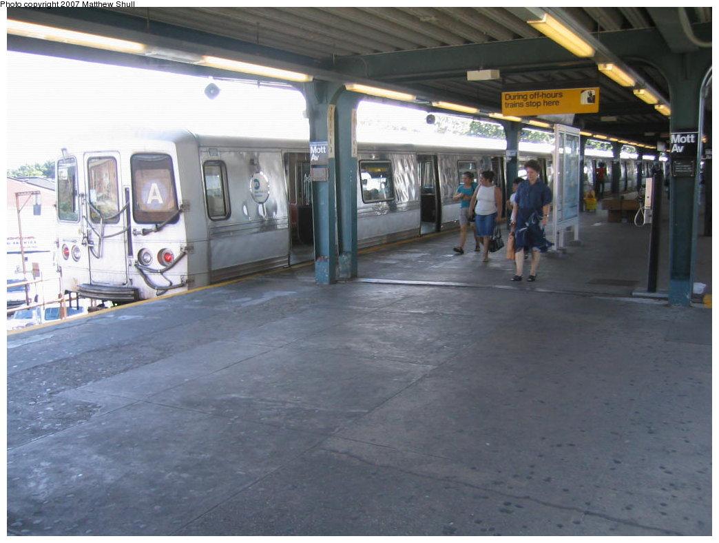 (153k, 1044x788)<br><b>Country:</b> United States<br><b>City:</b> New York<br><b>System:</b> New York City Transit<br><b>Line:</b> IND Rockaway<br><b>Location:</b> Mott Avenue/Far Rockaway <br><b>Route:</b> A<br><b>Car:</b> R-44 (St. Louis, 1971-73) 5306 <br><b>Photo by:</b> Matthew Shull<br><b>Date:</b> 8/27/2007<br><b>Viewed (this week/total):</b> 1 / 4154