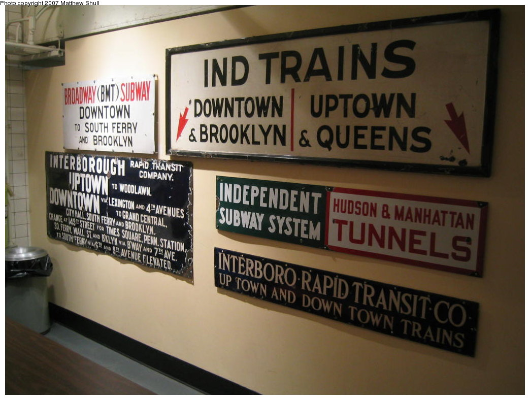 (152k, 1044x788)<br><b>Country:</b> United States<br><b>City:</b> New York<br><b>System:</b> New York City Transit<br><b>Location:</b> New York Transit Museum<br><b>Photo by:</b> Matthew Shull<br><b>Date:</b> 8/31/2007<br><b>Notes:</b> Signage Collection in Cafeteria<br><b>Viewed (this week/total):</b> 0 / 1319