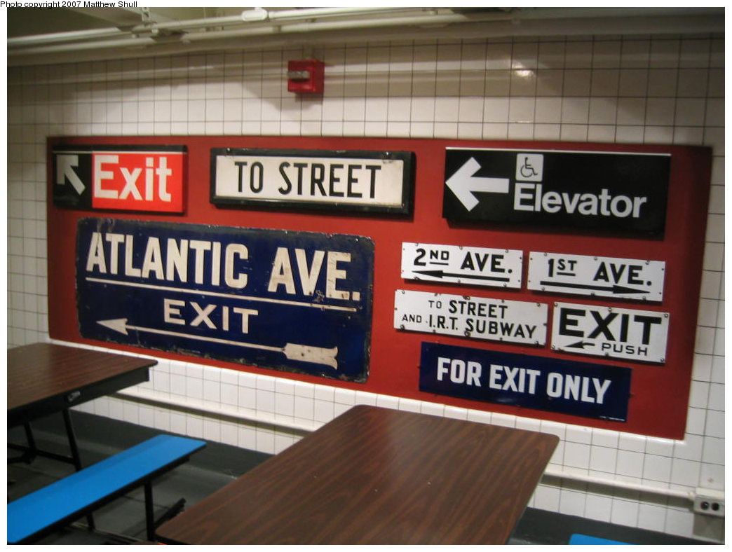 (151k, 1044x788)<br><b>Country:</b> United States<br><b>City:</b> New York<br><b>System:</b> New York City Transit<br><b>Location:</b> New York Transit Museum<br><b>Photo by:</b> Matthew Shull<br><b>Date:</b> 8/31/2007<br><b>Notes:</b> Signage Collection in Cafeteria<br><b>Viewed (this week/total):</b> 3 / 1713
