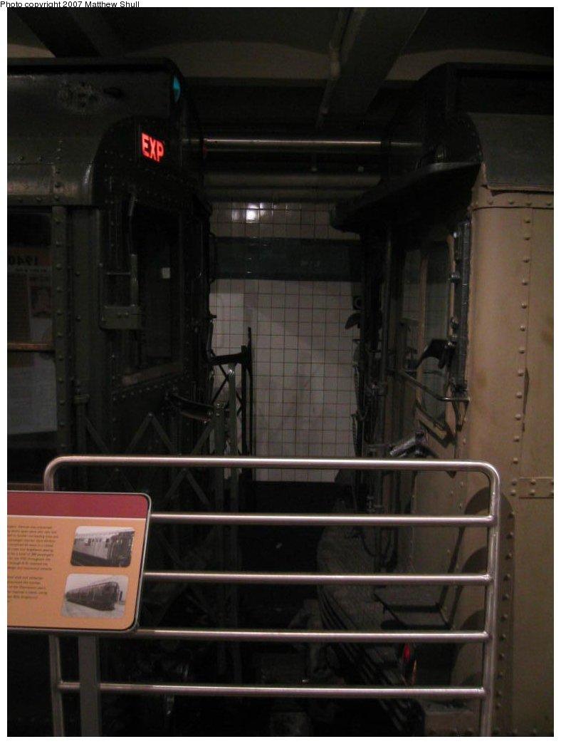 (103k, 788x1044)<br><b>Country:</b> United States<br><b>City:</b> New York<br><b>System:</b> New York City Transit<br><b>Location:</b> New York Transit Museum<br><b>Photo by:</b> Matthew Shull<br><b>Date:</b> 8/31/2007<br><b>Notes:</b> Strange Bedfellows - R1 100 on the left, BMT Triplex 6095 C on right<br><b>Viewed (this week/total):</b> 0 / 2792