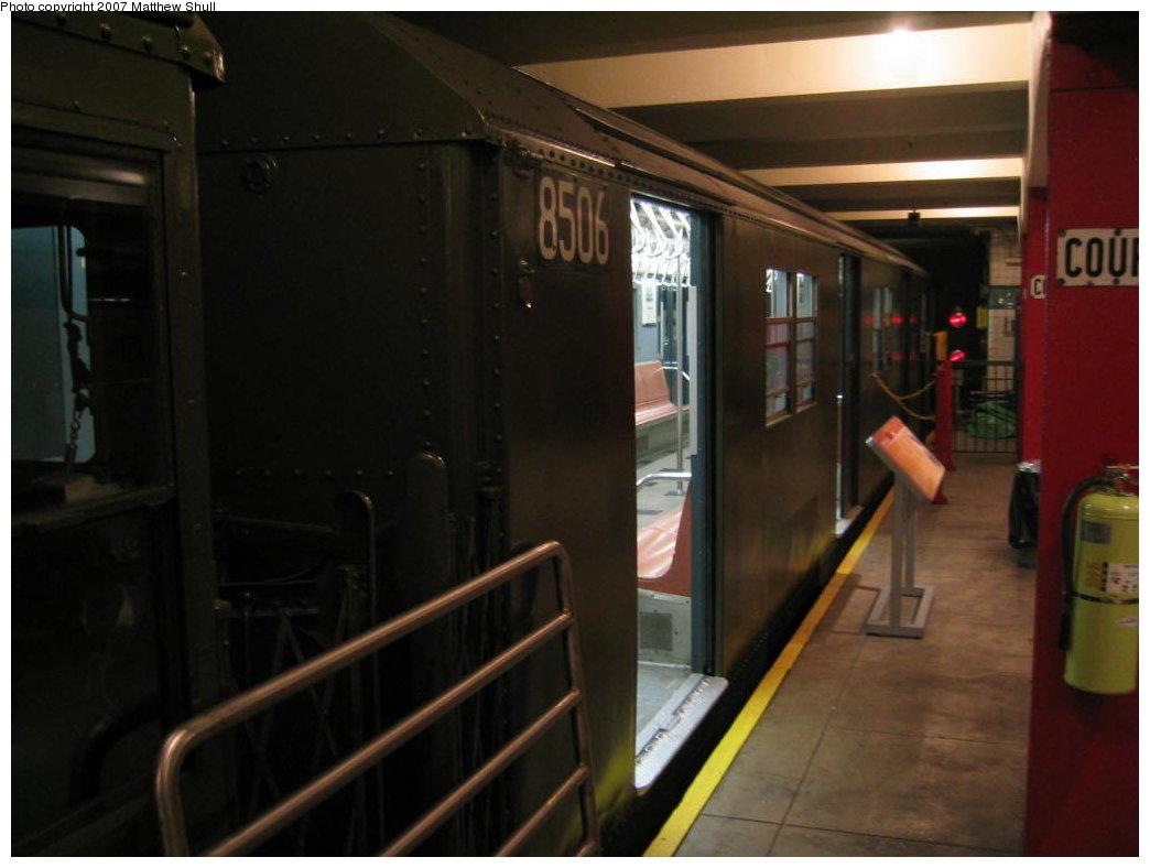 (120k, 1044x788)<br><b>Country:</b> United States<br><b>City:</b> New York<br><b>System:</b> New York City Transit<br><b>Location:</b> New York Transit Museum<br><b>Car:</b> R-30 (St. Louis, 1961) 8506 <br><b>Photo by:</b> Matthew Shull<br><b>Date:</b> 8/31/2007<br><b>Viewed (this week/total):</b> 0 / 3538