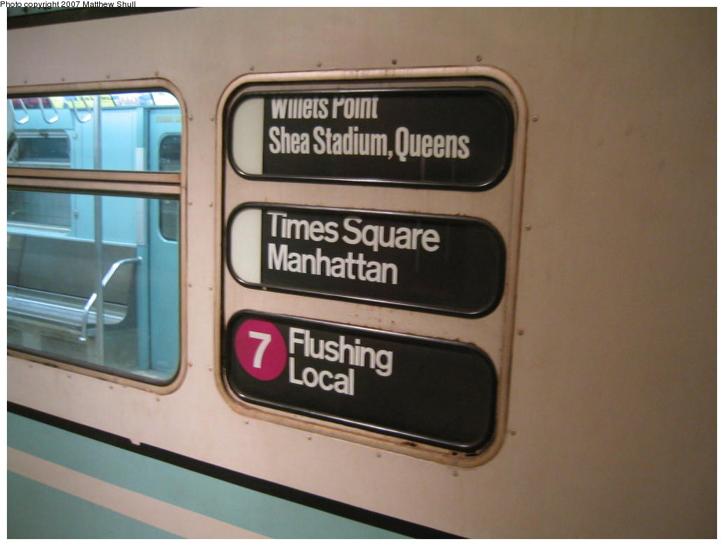 (120k, 1044x788)<br><b>Country:</b> United States<br><b>City:</b> New York<br><b>System:</b> New York City Transit<br><b>Location:</b> New York Transit Museum<br><b>Car:</b> R-33 World's Fair (St. Louis, 1963-64) 9306 <br><b>Photo by:</b> Matthew Shull<br><b>Date:</b> 8/31/2007<br><b>Notes:</b> Exterior Rollsigns - Properly set for 7 route to Willets Point<br><b>Viewed (this week/total):</b> 0 / 2520