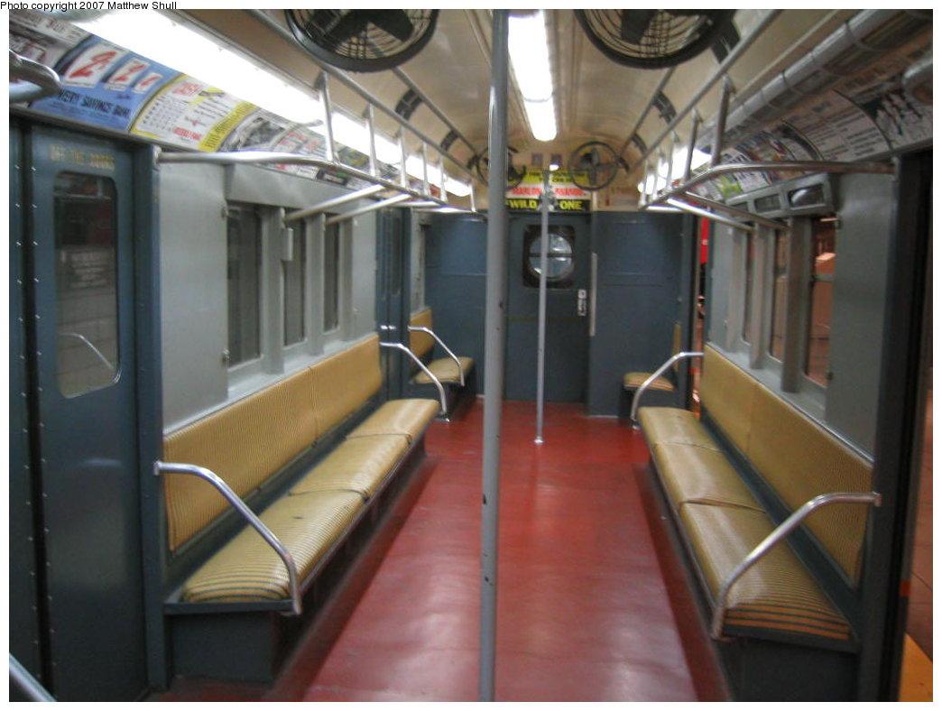 (142k, 1044x788)<br><b>Country:</b> United States<br><b>City:</b> New York<br><b>System:</b> New York City Transit<br><b>Location:</b> New York Transit Museum<br><b>Car:</b> R-12 (American Car & Foundry, 1948) 5760 <br><b>Photo by:</b> Matthew Shull<br><b>Date:</b> 8/31/2007<br><b>Notes:</b> Interior<br><b>Viewed (this week/total):</b> 0 / 2132