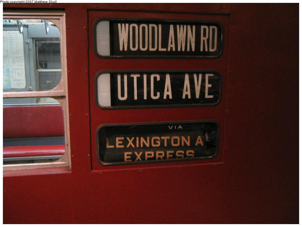 (108k, 1044x788)<br><b>Country:</b> United States<br><b>City:</b> New York<br><b>System:</b> New York City Transit<br><b>Location:</b> New York Transit Museum<br><b>Car:</b> R-17 (St. Louis, 1955-56) 6609 <br><b>Photo by:</b> Matthew Shull<br><b>Date:</b> 8/31/2007<br><b>Notes:</b> Exterior Rollsigns - Properly set for 4 route<br><b>Viewed (this week/total):</b> 1 / 2000