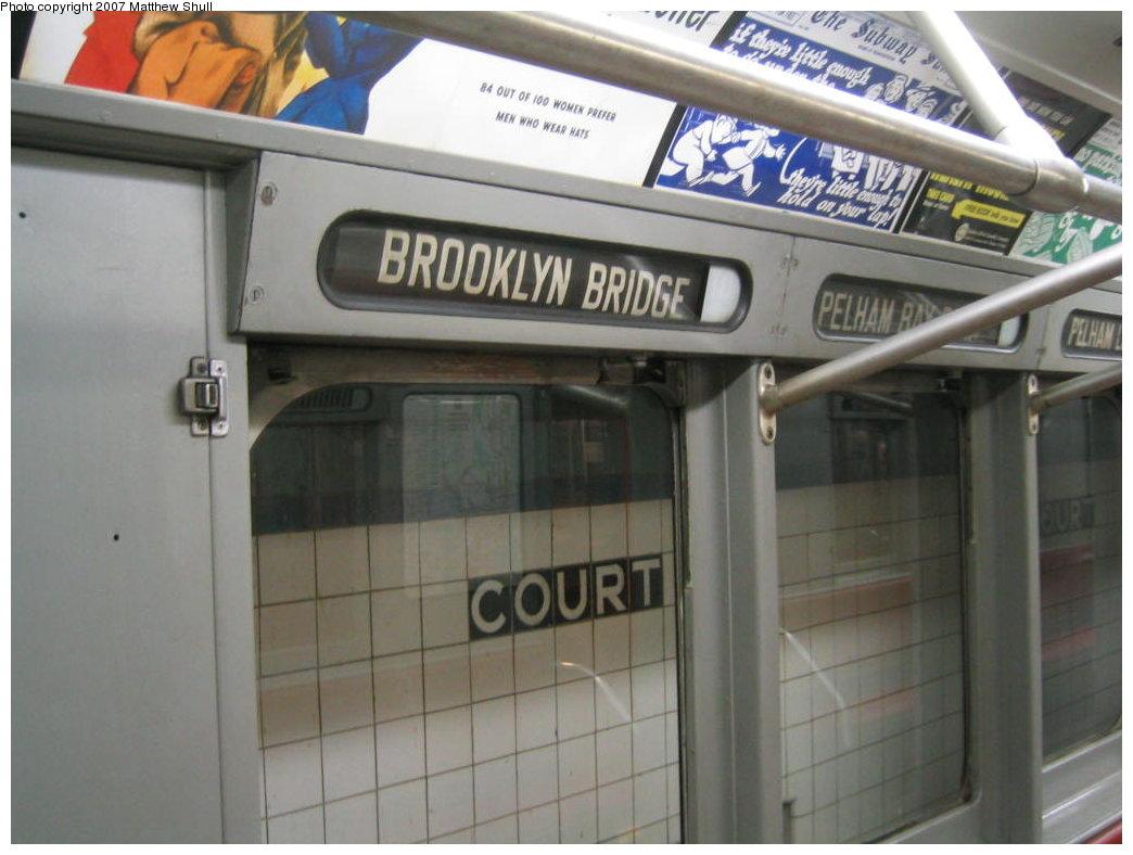 (136k, 1044x788)<br><b>Country:</b> United States<br><b>City:</b> New York<br><b>System:</b> New York City Transit<br><b>Location:</b> New York Transit Museum<br><b>Car:</b> R-15 (American Car & Foundry, 1950) 6239 <br><b>Photo by:</b> Matthew Shull<br><b>Date:</b> 8/31/2007<br><b>Notes:</b> Interior Rollsigns - Properly set for <6> route (Rush Hours Express on the Pelham line)<br><b>Viewed (this week/total):</b> 2 / 1683