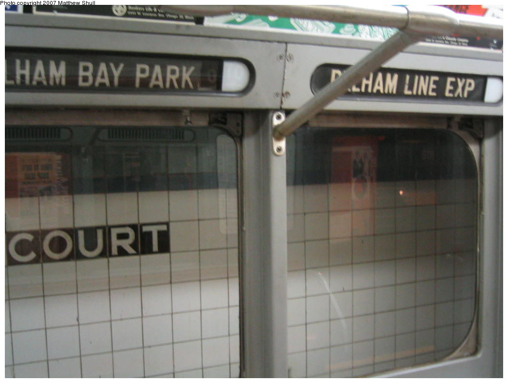 (116k, 1044x788)<br><b>Country:</b> United States<br><b>City:</b> New York<br><b>System:</b> New York City Transit<br><b>Location:</b> New York Transit Museum<br><b>Car:</b> R-15 (American Car & Foundry, 1950) 6239 <br><b>Photo by:</b> Matthew Shull<br><b>Date:</b> 8/31/2007<br><b>Notes:</b> Interior Rollsigns - Properly set for <6> route (Rush Hours Express on the Pelham line)<br><b>Viewed (this week/total):</b> 2 / 1687