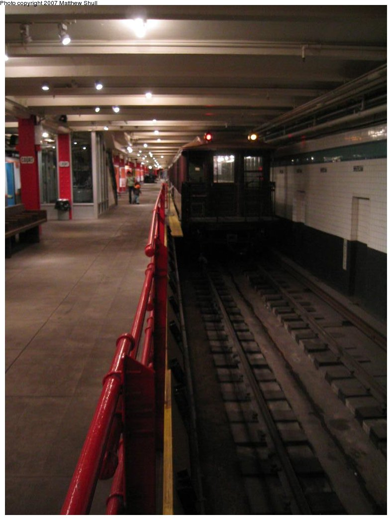 (112k, 788x1044)<br><b>Country:</b> United States<br><b>City:</b> New York<br><b>System:</b> New York City Transit<br><b>Location:</b> New York Transit Museum<br><b>Car:</b> BMT Elevated Gate Car  <br><b>Photo by:</b> Matthew Shull<br><b>Date:</b> 8/31/2007<br><b>Notes:</b> Platform View of Track 2 with Manual Gap Fillers for IRT-sized cars<br><b>Viewed (this week/total):</b> 2 / 3139