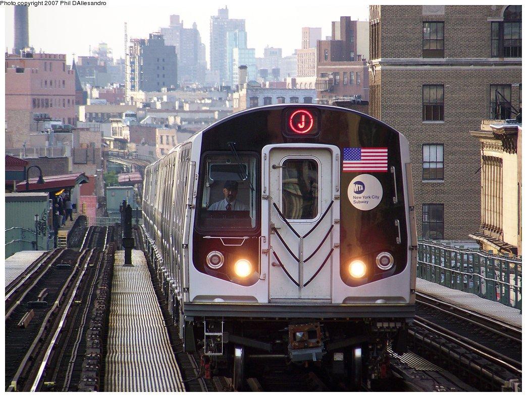(233k, 1044x788)<br><b>Country:</b> United States<br><b>City:</b> New York<br><b>System:</b> New York City Transit<br><b>Line:</b> BMT Nassau Street/Jamaica Line<br><b>Location:</b> Myrtle Avenue <br><b>Route:</b> J<br><b>Car:</b> R-160A-1 (Alstom, 2005-2008, 4 car sets)  8328 <br><b>Photo by:</b> Philip D'Allesandro<br><b>Date:</b> 10/1/2007<br><b>Viewed (this week/total):</b> 0 / 4678