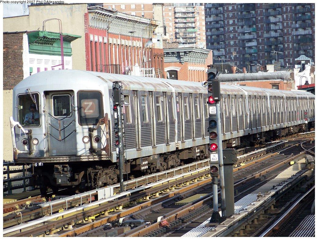 (298k, 1044x788)<br><b>Country:</b> United States<br><b>City:</b> New York<br><b>System:</b> New York City Transit<br><b>Line:</b> BMT Nassau Street/Jamaica Line<br><b>Location:</b> Marcy Avenue <br><b>Route:</b> Z<br><b>Car:</b> R-42 (St. Louis, 1969-1970)  4763 <br><b>Photo by:</b> Philip D'Allesandro<br><b>Date:</b> 10/1/2007<br><b>Viewed (this week/total):</b> 1 / 1987