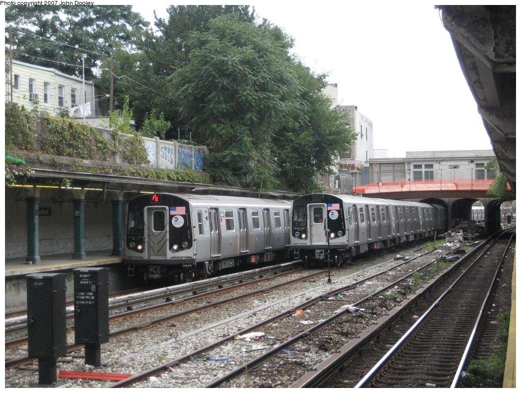 (240k, 1043x787)<br><b>Country:</b> United States<br><b>City:</b> New York<br><b>System:</b> New York City Transit<br><b>Line:</b> BMT Sea Beach Line<br><b>Location:</b> 20th Avenue <br><b>Route:</b> N<br><b>Car:</b> R-160B (Kawasaki, 2005-2008)  8803/8853 <br><b>Photo by:</b> John Dooley<br><b>Date:</b> 10/1/2007<br><b>Viewed (this week/total):</b> 1 / 3086